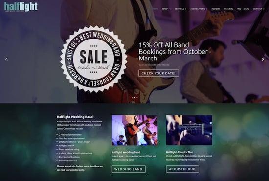 Halflight Wedding Band Website