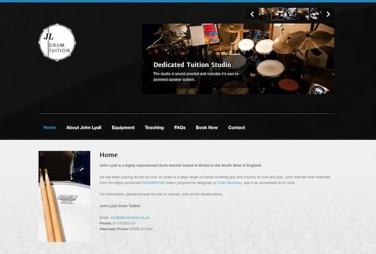 John Lyall Drum Tuition Website